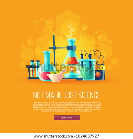 Vector cartoon background with set of chemical equipment for experiments, vials, glass flask, test-tubes with substance and reagents. School chemistry laboratory, educational concept illustration