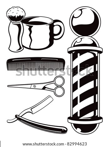 Vector Cartoon Barbershop Tools.