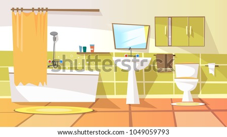 Vector cartoon bathroom interior background template. Modern home, hotel apartment lavatory, restroom. Illustration with ceramic furniture bathtub, faucet toilet sink, shower mirror closet with mirror