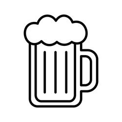 Vector Cartoon Beer Glass Icon Isolated On White Background