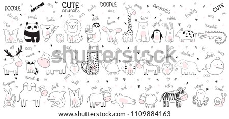 Vector cartoon big set of cute doodle animals. Perfect for postcard, birthday, baby book, children room. Lamb, crocodile, zebra, camel, octopus, whale, shark, wolf, cow, snail