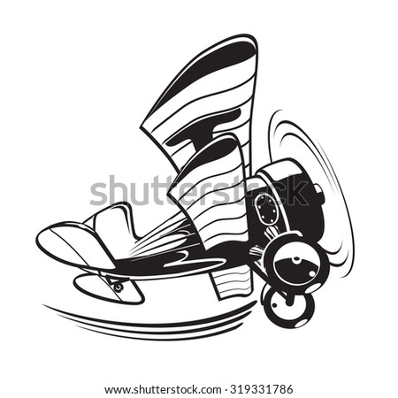 Vector Cartoon Biplane. Available EPS-8 vector format separated by 3 layers for easy edit