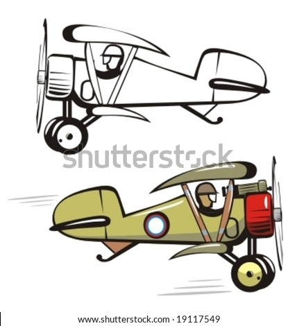 Vector cartoon biplane. More cartoon airplanes illustrations see in my portfolio