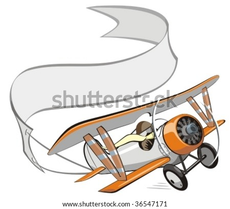 vector cartoon biplane with
