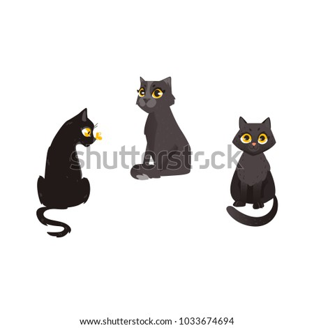 Vector cartoon black cat animals set. Funny flat domestic pets in different poses sitting, playing with butterfly. Cute characters, halloween holiday symbols. Isolated illustration, white background