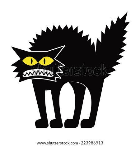 vector cartoon black cat