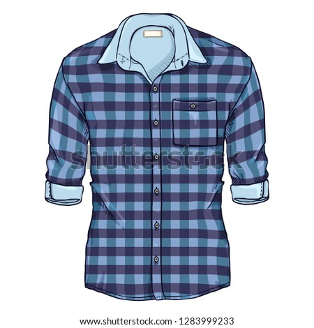 Vector Cartoon Blue Checkered Casual Men Shirt with Roll Up Sleeves