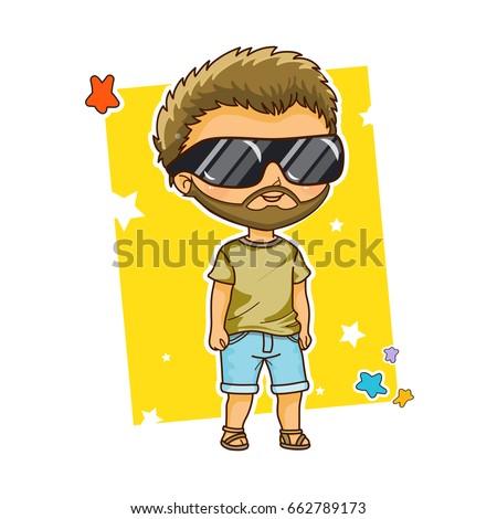 vector cartoon boy  kawaii