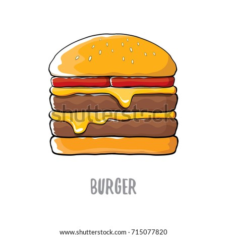 vector cartoon burger with cheese, meat and salad icon isolated on white background.Tasty gourmet burger , hamburger. cheeseburger label design element. Fast food, cafe or burger house logo concept