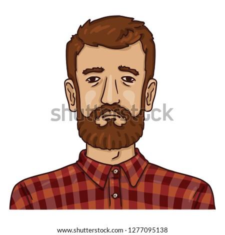 Vector Cartoon Business Avatar - Bearded Man in Checkered Shirt. Male Character Portrait