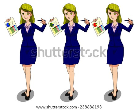 vector cartoon business women with 3 emotions \