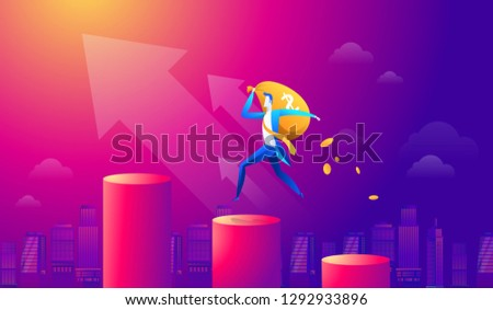 Vector cartoon businessman holding money bag and walking on red graph and upward arrow. Business investment