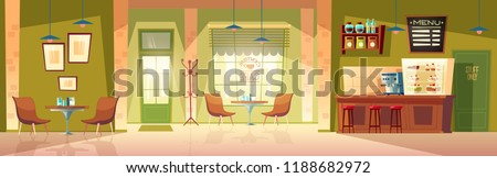Vector cartoon cafe room - cozy interior with coffee machine, table and places for customers. Wooden furniture for cafeteria, chairs and blackboard for menu. Background with door, window and fridge.