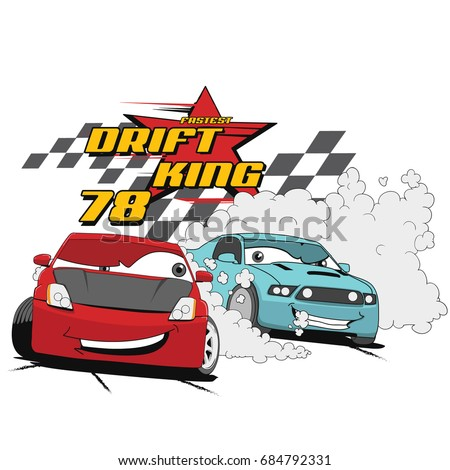 Vector Cartoon Car Illustration For Print