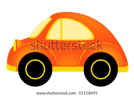 vector cartoon car on white background