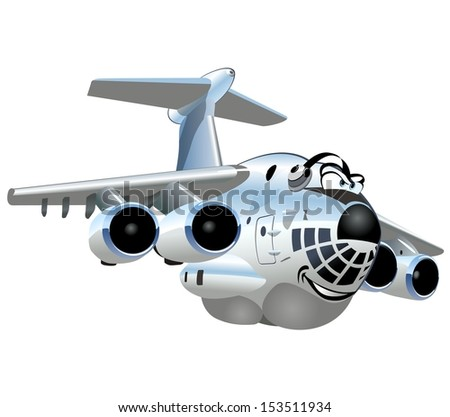 Vector Cartoon Cargo Airplane