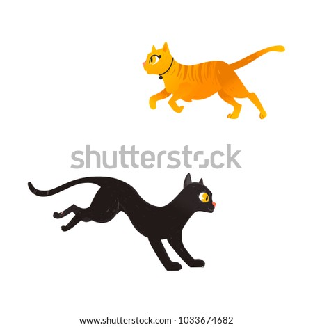 vector cartoon cat animals set. ...