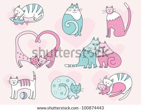 vector cartoon cats collection