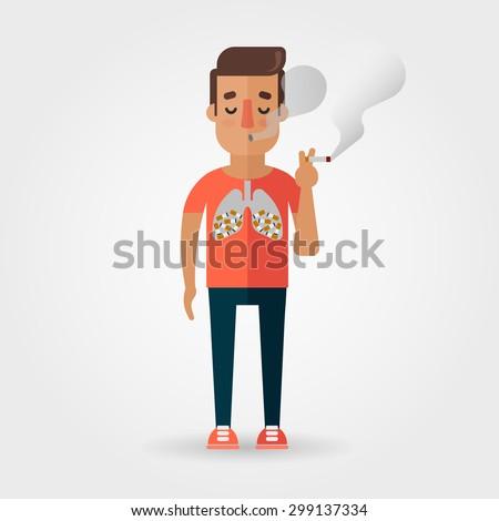 Vector Cartoon Character Smoking a Cigarette