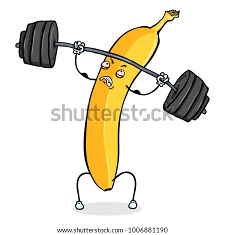 Vector Cartoon Character - Yellow Banana Lifting Heavy Weight Barbell