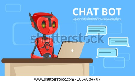 Vector cartoon chat bot poster background template. Illustration with robot assistant, artificial intelligence technology chatterbot help digital communication online. Mobile messanger support concept