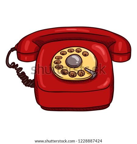 Vector Cartoon Classic Red Rotary Telephone
