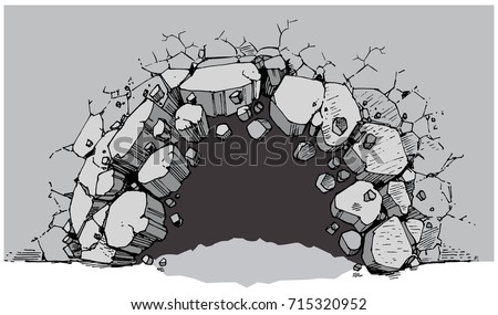 Vector cartoon clip art illustration of a ground level hole in a wide wall breaking or exploding out into rubble or debris. File is layered for easy customization as a background graphic element.