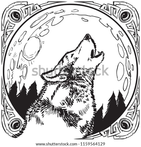 Vector cartoon clip art illustration of a howling wolf head in front of a full moon at night with a trees contained in an ornate jeweled frame or border in a black and white ink drawing style.