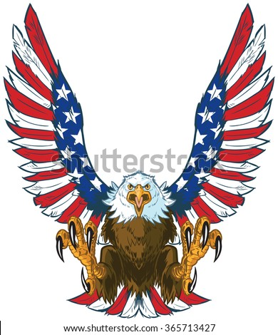Shutterstock Vector cartoon clip art illustration of a mean screaming bald eagle flying forward with talons out and spread American flag wings.