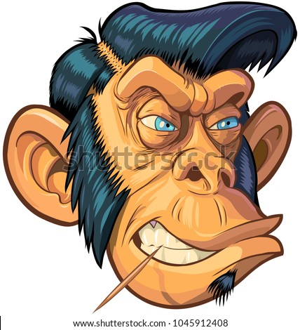 Vector cartoon clip art illustration of a tough mean chimpanzee monkey mascot head with blue eyes, a toothpick, and a hipster or greaser hair style with sideburns. Design elements on separate layers.