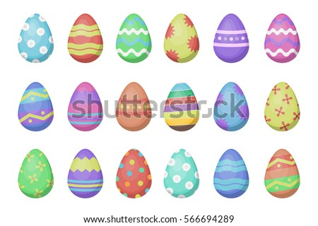 Vector Cartoon Collection With Easter Eggs For Decoration On The White Background Concept Of Happy