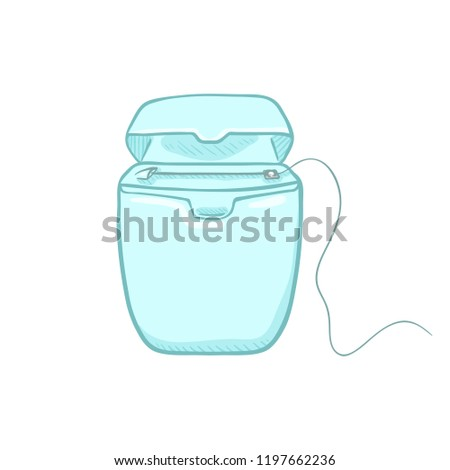 Vector Cartoon Color Illustration - Dental Floss in Blank Blue Case.