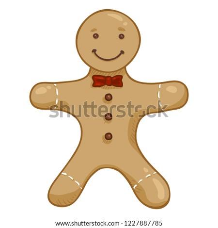 Vector Cartoon Color Illustration - Gingerbread Man
