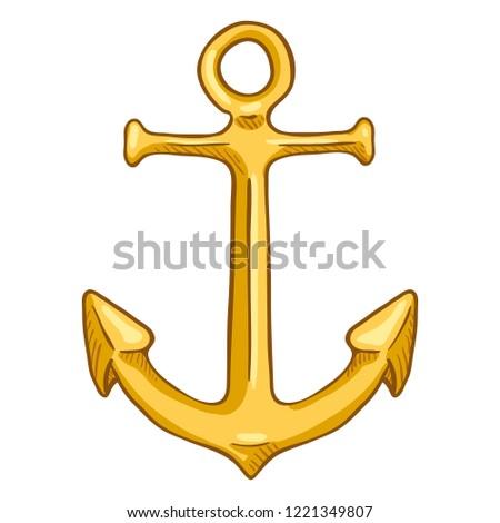 Vector Cartoon Color Illustration - Golden Marine Boat Anchor