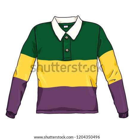 Vector Cartoon Color Illustration - Multicolor Rugby Shirt