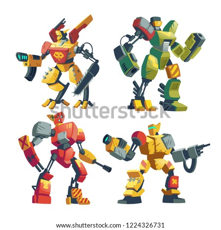 Vector cartoon combat robots. Battle androids with artificial intelligence in protective armor isolated on white background for games. Futuristic soldiers, robotic toys. Modern military concept.