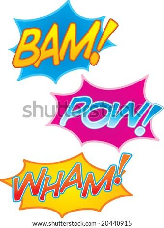 vector cartoon comic book sound effects: bam! pow! and wham!