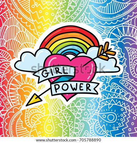 Vector cartoon comic style illustration of arrow heart with rainbow and feminism sign