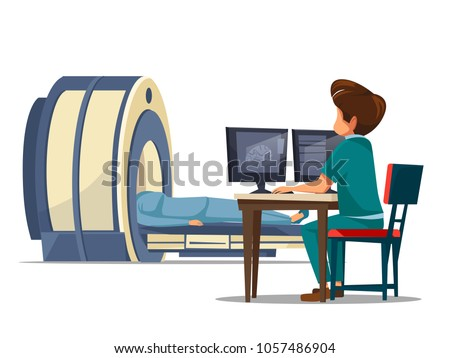 Vector cartoon computer tomography ct or magnetic resonance imaging mri patient scanning concept. Man doctor in medical uniform makes diagnostic tests, screening of body looking at monitor in clinic.