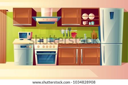 vector cartoon cooking room
