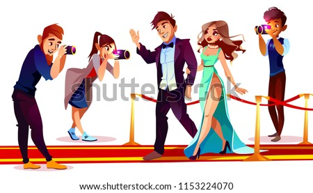 Vector cartoon couple of famous celebrities on red carpet with paparazzi isolated on white background. Photographers with cameras work with rich superstars for mass media on premiere, ceremony show.