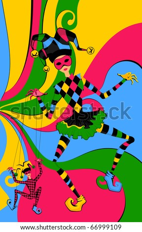 Vector Cartoon court jester holds a marionette