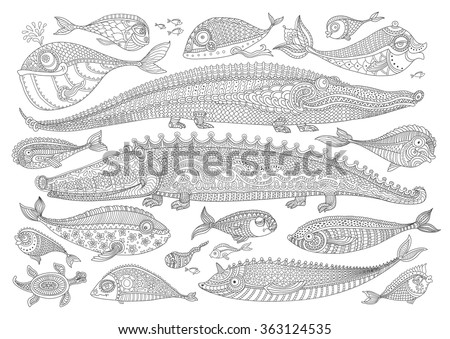 vector cartoon crocodile  fish
