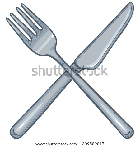 Vector Cartoon Crossed Cutlery. Classic Steel Fork and Knife.