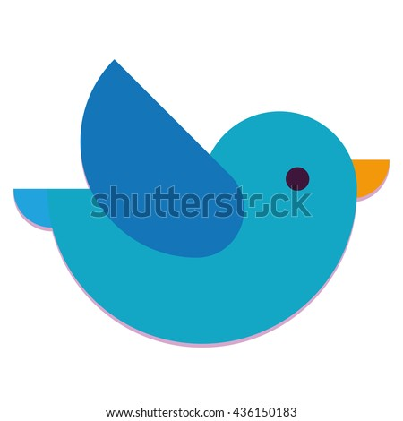 vector cartoon cute blue bird