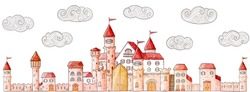 Vector cartoon cute castle and doodle clouds. Medieval architecture: houses, towers, fences, walls, gates