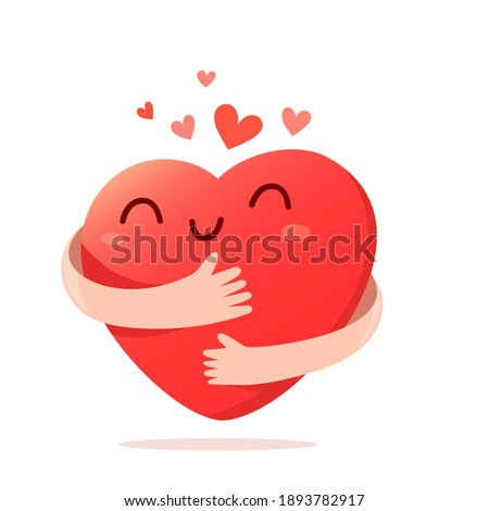 Vector cartoon cute happy heart character with smile and hands hugging self on white background, love yourself