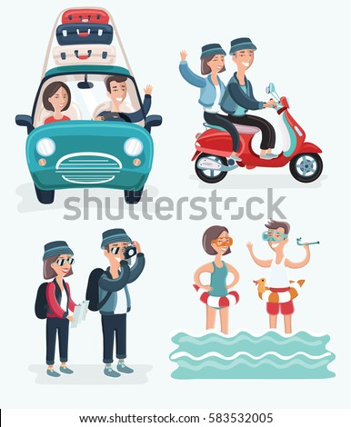 Vector cartoon cute illustration of young couple on vacation. Travel on car, travel by scooter, swiming, tacking photo. Isolated on white background