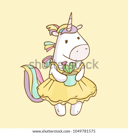 vector cartoon cute unicorn