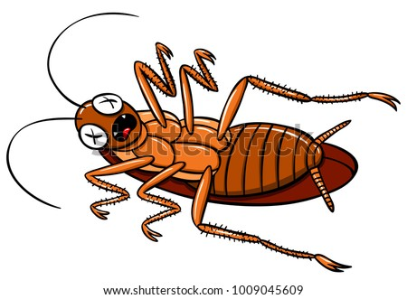 Vector Cartoon Dead Cockroach